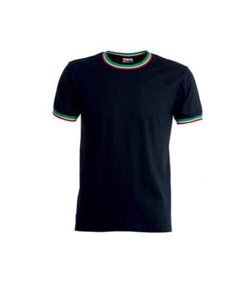 t-shirt blu con tricolore
